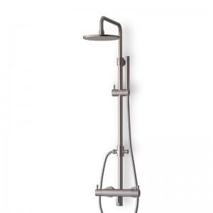Colonne douche thermostatique inox brossé avec douchette