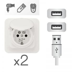Prises électriques et USB sous le miroir pour brancher vos appareils