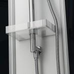 Tablette de rangement et flexible douchette en inox avec système anti-torsion