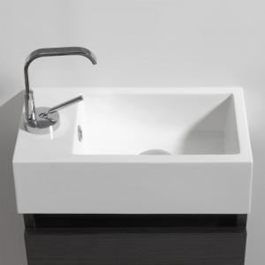 Vasque non percée avec trop-plein et bonde pop-up