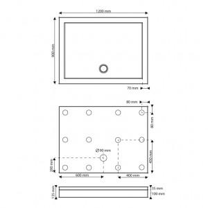 Dimensions et emplacements des pieds