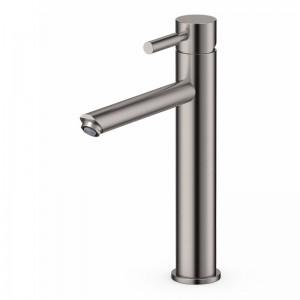 Robinet mitigeur haut métal brossé pour lavabo