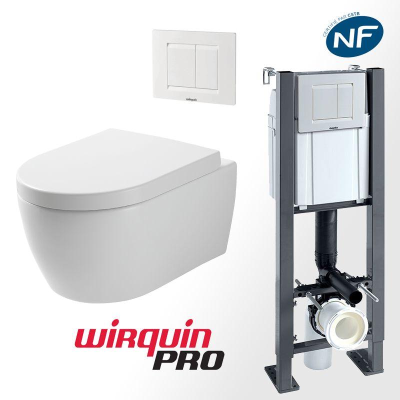 Pack WC suspendu sans bride avec bâti-support autoportant WIRQUIN PRO