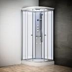 Cabine douche hydromassage SILVER 1/4 de rond avec vitres blanches