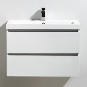 Meuble salle de bain 80 cm CITY blanc laqué