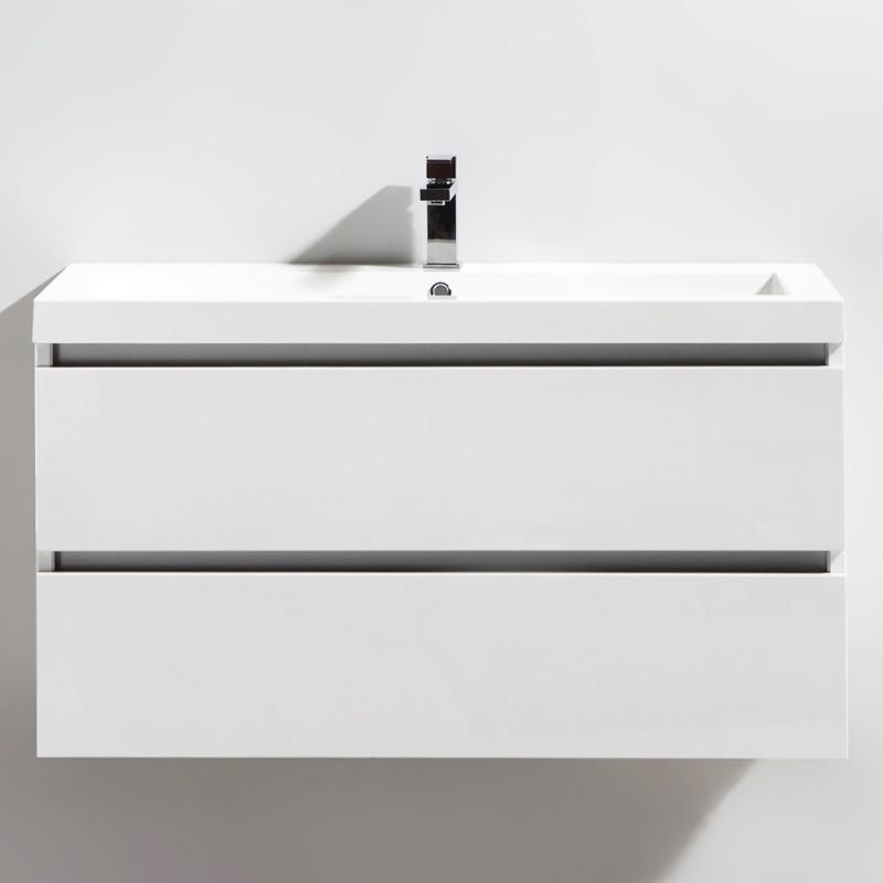 Meuble salle de bain 100 cm CITY blanc laqué