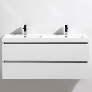 Meuble salle de bain double vasque 120 cm CITY blanc laqué