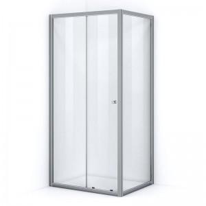 Paroi de douche d'angle 100 x 90 cm avec ouverture coulissante