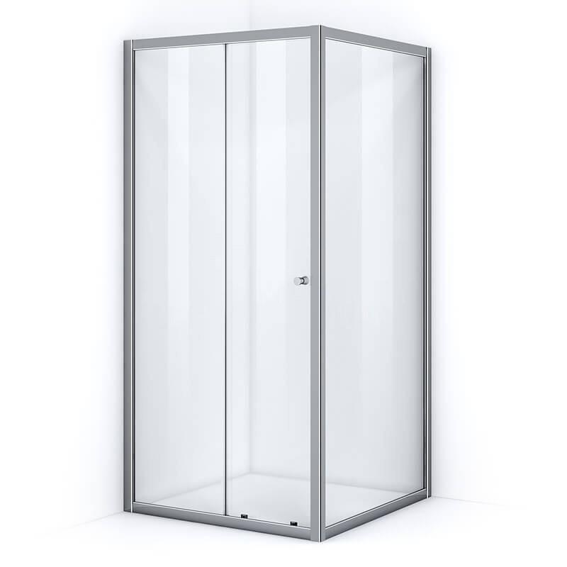 Paroi de douche d'angle 100 x 100 cm avec ouverture coulissante