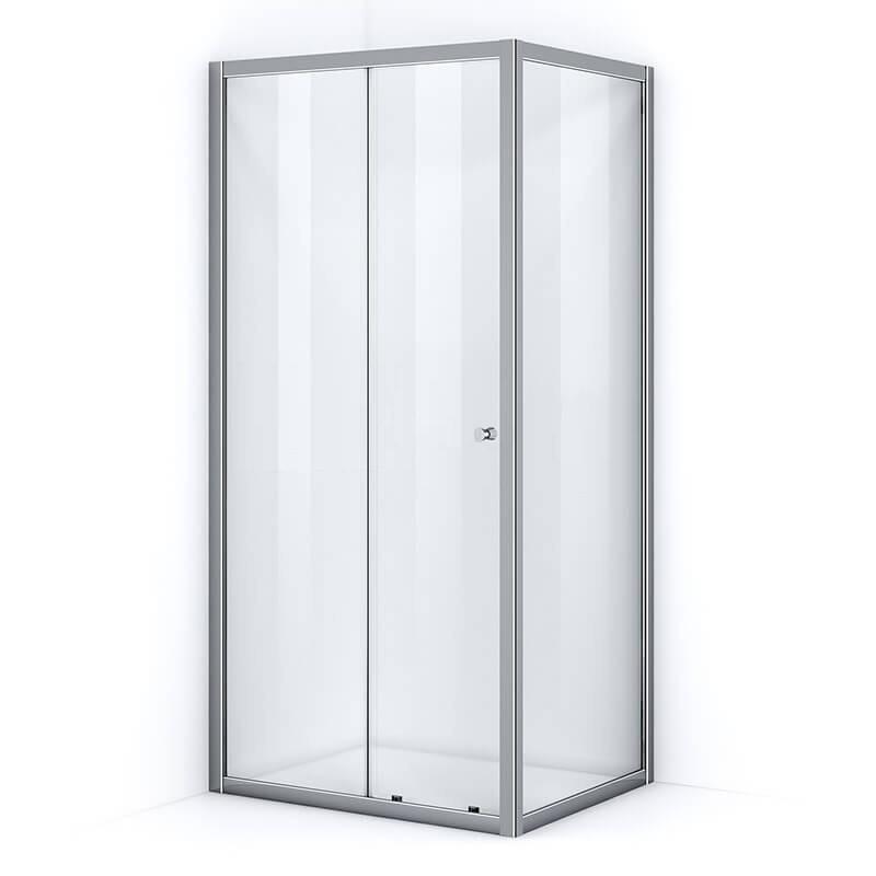 Paroi de douche d'angle 110 x 90 cm avec ouverture coulissante