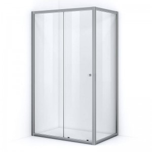 Paroi de douche d'angle 120 x 100 cm avec ouverture coulissante