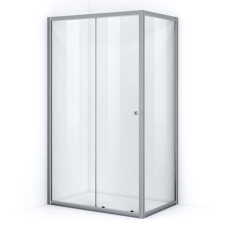 Paroi de douche d'angle 140 x 100 cm avec ouverture coulissante