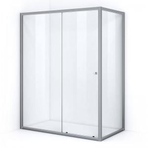 Paroi de douche d'angle 150 x 80 cm avec ouverture coulissante