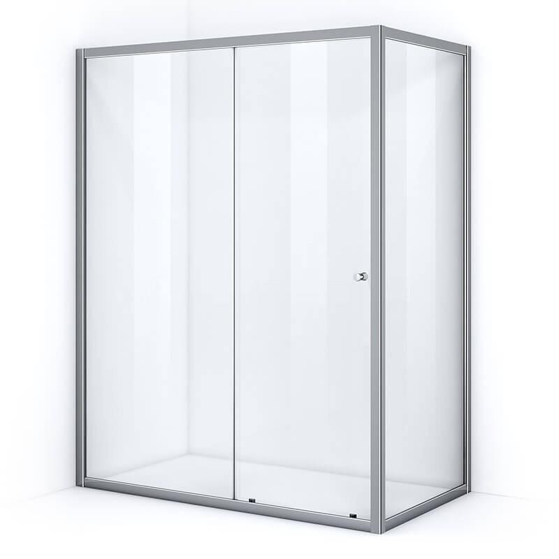 Paroi de douche d'angle 150 x 90 cm avec ouverture coulissante