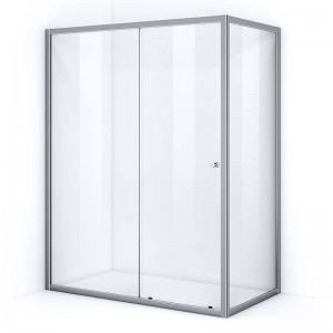 Paroi de douche d'angle 160 x 100 cm avec ouverture coulissante