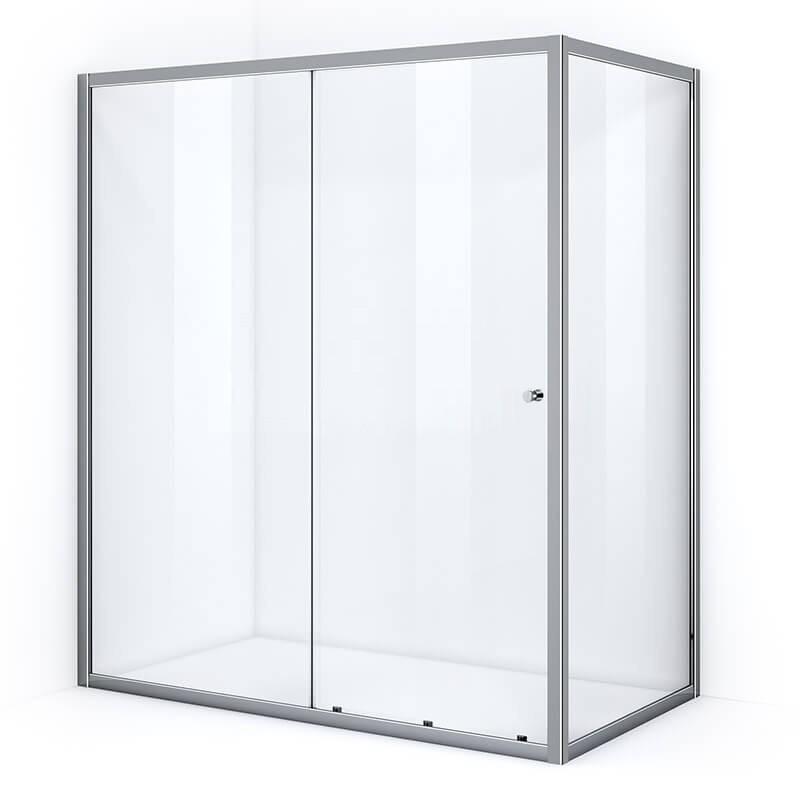 Paroi de douche d'angle 170 x 80 cm avec ouverture coulissante