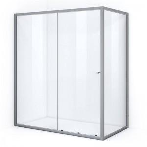 Paroi de douche d'angle 180 x 80 cm avec ouverture coulissante
