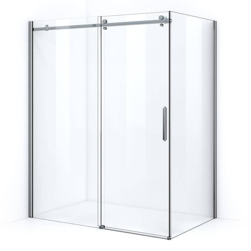 Parois de douche avec ouverture coulissante sur rail et parois en verre épaisseur 8mm