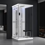 Cabine douche hammam URBAN 100x100cm (version gauche) avec verres blancs sur 1 côté