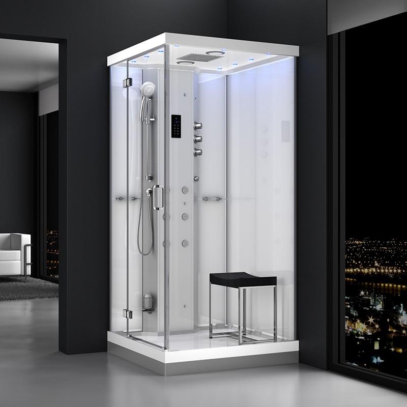 Cabine douche hammam URBAN 100x100cm (version gauche) avec verres blancs sur 2 côtés