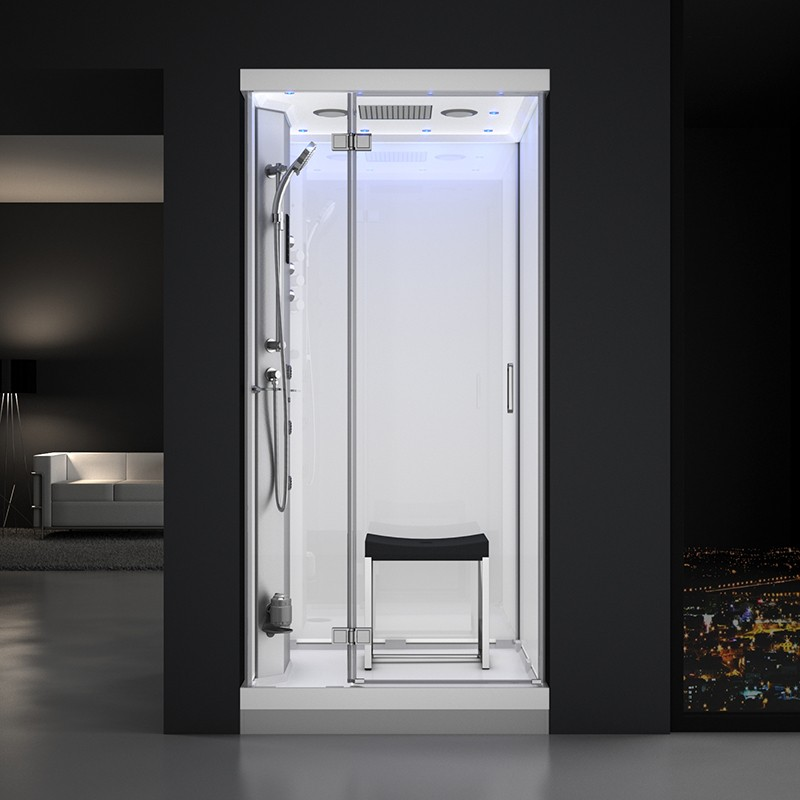 Cabine douche hammam URBAN 100x100cm (version gauche) avec verres blancs sur 3 côtés