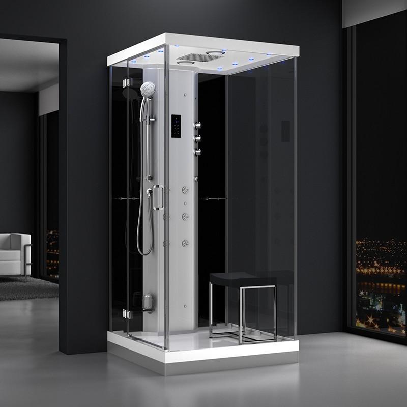 Cabine douche hammam URBAN 100x100cm (version gauche) avec verres noirs sur 1 côté