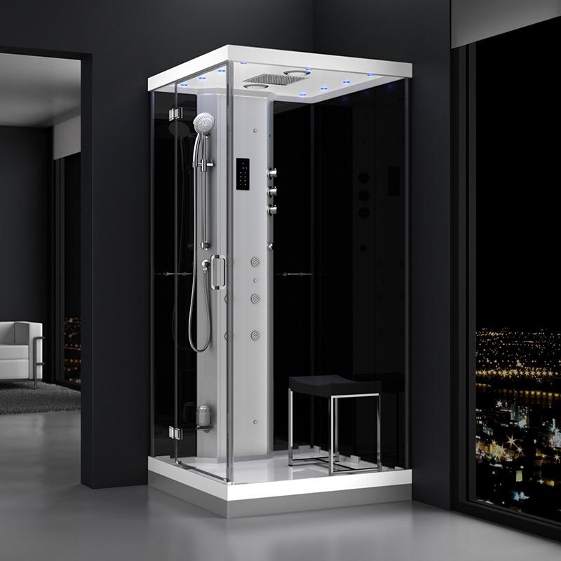 Cabine douche hammam URBAN 100x100cm (version gauche) avec verres noirs sur 2 côtés