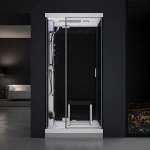 Cabine douche hammam URBAN 100x100cm (version gauche) avec verres noirs sur 3 côtés