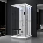 Cabine douche hammam URBAN 100x100cm (version droite) avec verres blancs sur 1 côté