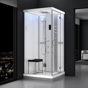 Cabine douche hammam URBAN 100x100cm (version droite) avec verres blancs sur 2 côtés