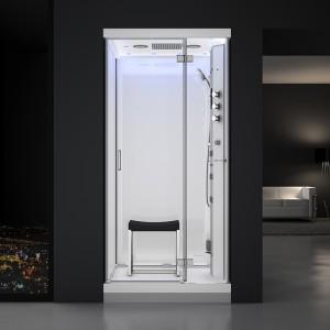 Cabine douche hammam URBAN 100x100cm (version droite) avec verres blancs sur 3 côtés