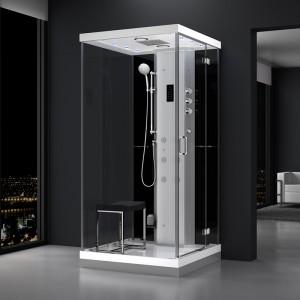 Cabine douche hammam URBAN 100x100cm (version droite) avec verres noirs sur 1 côté
