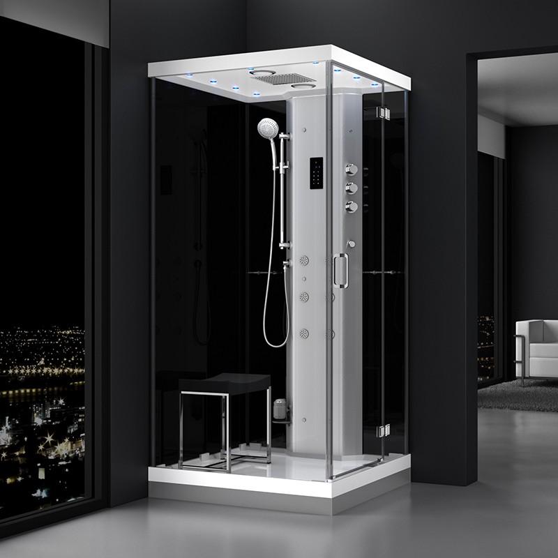 Cabine douche hammam URBAN 100x100cm (version droite) avec verres noirs sur 2 côtés