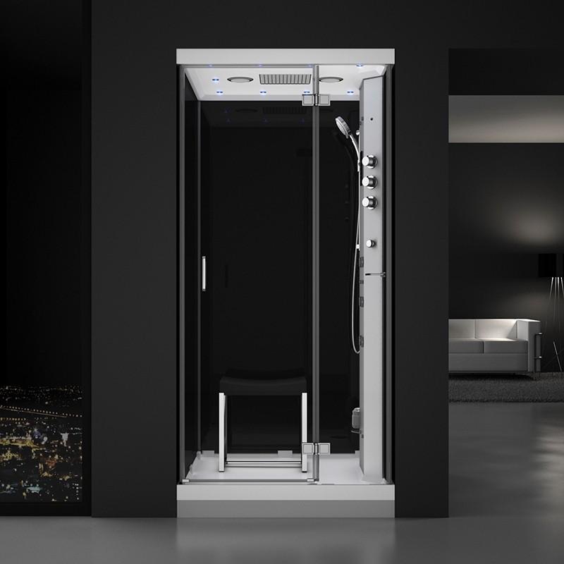 Cabine douche hammam URBAN 100x100cm (version droite) avec verres noirs sur 3 côtés
