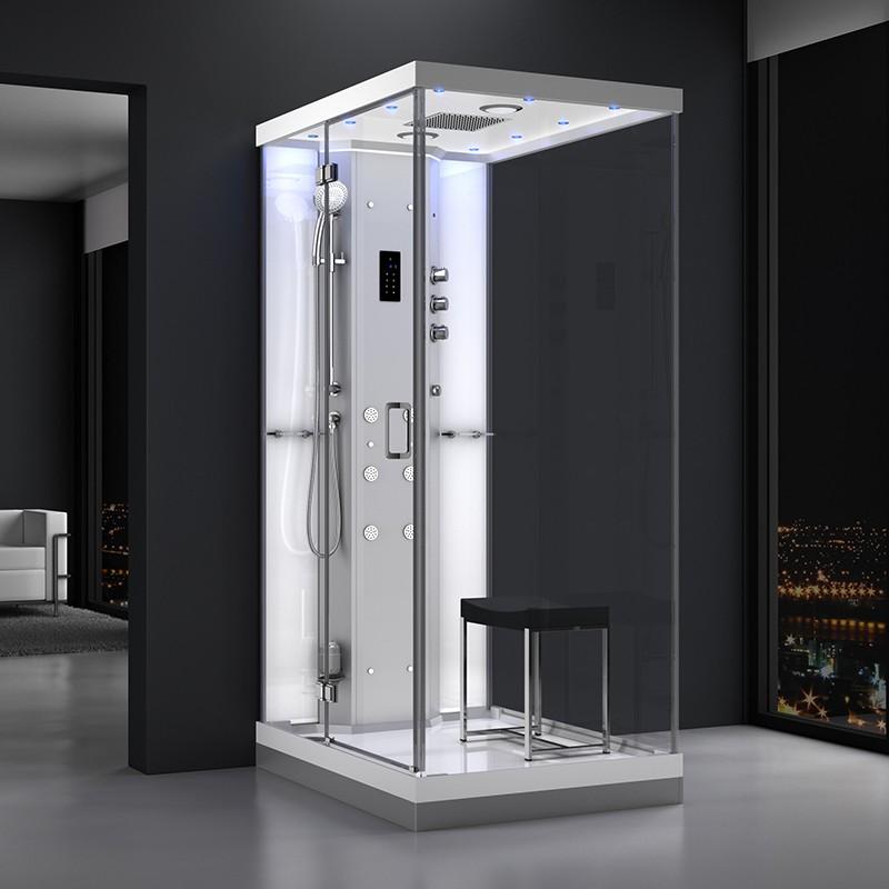 Cabine douche hammam URBAN 120x90cm (version gauche) avec verres blancs sur 1 côté