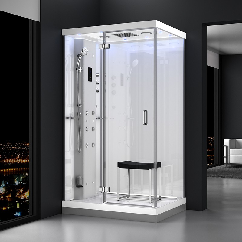 Cabine douche hammam URBAN 120x90cm (version gauche) avec verres blancs sur 2 côtés