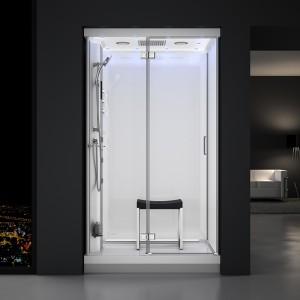 Cabine douche hammam URBAN 120x90cm (version gauche) avec verres blancs sur 3 côtés