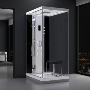 Cabine douche hammam URBAN 120x90cm (version gauche) avec verres noirs sur 1 côté