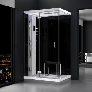 Cabine douche hammam URBAN 120x90cm (version gauche) avec verres noirs sur 2 côtés