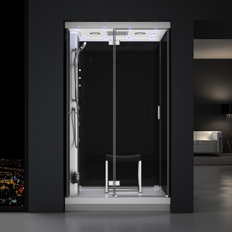 Cabine douche hammam URBAN 120x90cm (version gauche) avec verres noirs sur 3 côtés