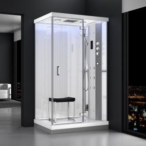 Cabine douche hammam URBAN 120x90cm (version droite) avec verres blancs sur 2 côtés