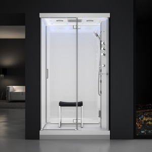 Cabine douche hammam URBAN 120x90cm (version droite) avec verres blancs sur 3 côtés