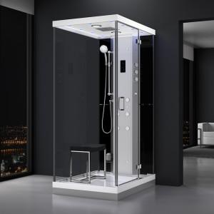 Cabine douche hammam URBAN 120x90cm (version droite) avec verres noirs sur 1 côté