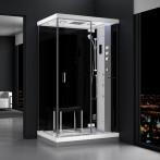 Cabine douche hammam URBAN 120x90cm (version droite) avec verres noirs sur 2 côtés