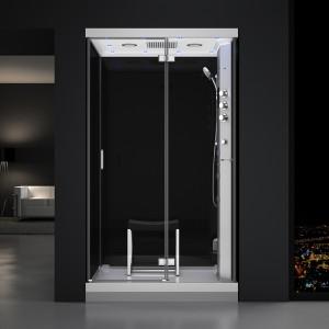 Cabine douche hammam URBAN 120x90cm (version droite) avec verres noirs sur 3 côtés