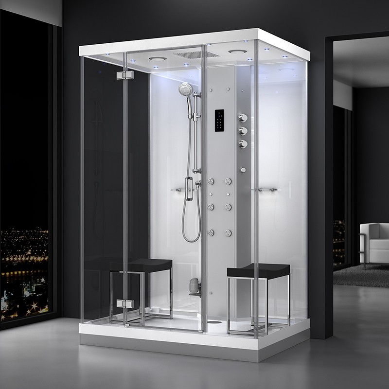 Cabine douche hammam URBAN 140x100 cm avec verres blancs sur 1 côté