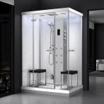 Cabine douche hammam URBAN 140x100 cm avec verres blancs sur 2 côtés