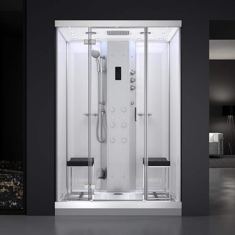 Cabine douche hammam URBAN 140x100 cm avec verres blancs sur 3 côtés