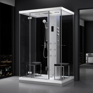 Cabine douche hammam URBAN 140x100 cm avec verres noirs sur 1 côté