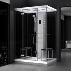 Cabine douche hammam URBAN 140x100 cm avec verres noirs sur 2 côtés